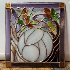 Mother Earth Creation - Handcrafted stained glass decorative panel