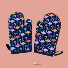 Oven Gloves Pair – Flamingos