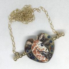 Handmade Giraffe Bead Lampwork Wearable Art Raw Brass