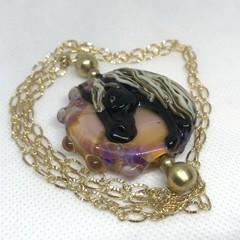Handmade Horse Bead Lampwork Wearable Art Raw Brass