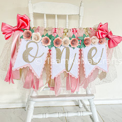 One High Chair Banner, Floral Banner, Cake Smash Photo Prop