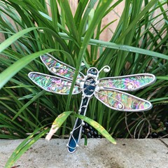 Blue Dragonfly Stained Glass Outdoor Garden Stake