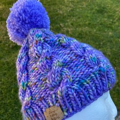 Purple cable knitted beanie, pompom lilac winter beanie, ladies cable beanie, pu