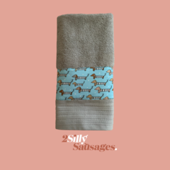 Hand Towel Large with strip of dachshunds – Taupe/Aqua/Tan