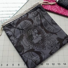 Small Drawstring Pouch 'After Dark' - Free Postage