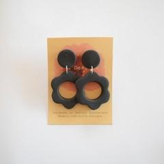 Matt Black flower 2 piece polymer clay stud earrings