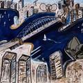 Sydney Harbour . Giclee print  on canvas 100 cm x 75 cm .