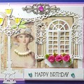 """""""Pretty Vintage Girl with Lampstand and Window with Flowers"""" - Blank, Birthday"""
