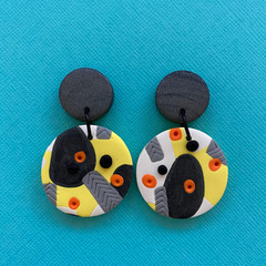 Yellow and Grey Jungle Dangle  - Polymer Clay Earrings