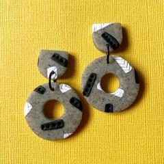 Grey Mono Donut Dangles  - Polymer Clay Earrings