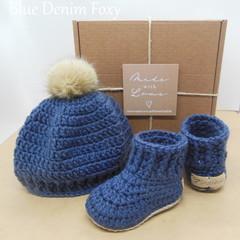 Blue Denim Foxy - Baby Shoes and Hat Set - Newborn (0-3mths)