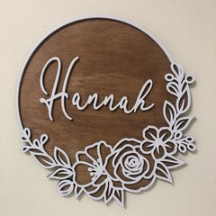 Flower Personalised name plaque