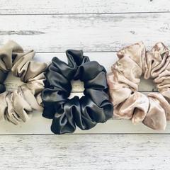Black, Rose Gold, Mink XL Scrunchie. Satin & Velvet