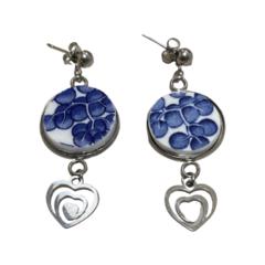 Blue Willow Heart Stud Earrings