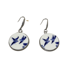 Blue Willow Swallow Earrings Large