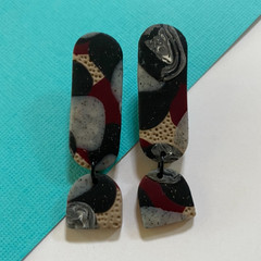Winter Long drop Dangle  - Polymer Clay Earrings