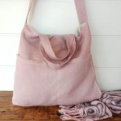 DUSTY PINK linen shoulder or cross body bag,  fully lined,  pockets, 100% linen