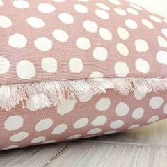BLUSH PINK dotty cotton throw pillow cover,  100% cotton, zipper