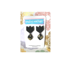 Black & gold glitter polymer clay tulip dangles