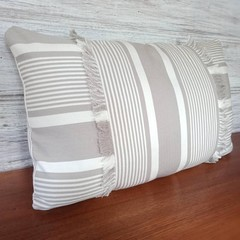 TAUPE stripe cotton ticking throw pillow cover with fringe,  100% cotton, zipper