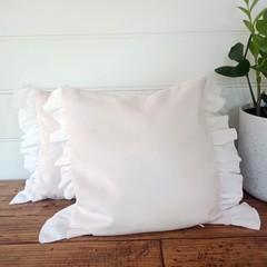 PALEST PINK velvet throw pillow cover, white crinkle cotton ruffles, zipper