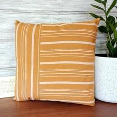 MUSTARD & white stripe throw pillow cover, cotton viscose blend, zipper