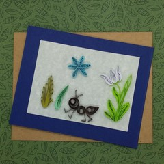 Quilled Card Flowers and an Ant
