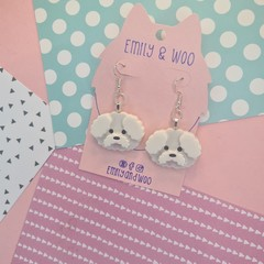 Bichon Frise Dog Resin Earrings Jewellery
