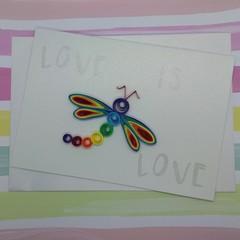 Love is Love Card Rainbow Dragonfly