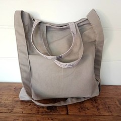 TAUPE LINEN & Paris print shoulder or cross body bag,  fully lined,  pockets