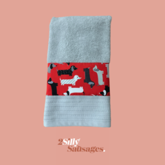 Hand Towel Large Grey with strip of dachshunds – Red/Grey Black