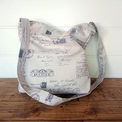 PARIS PRINT cotton canvas shoulder or cross body bag,  fully lined, inner pocket