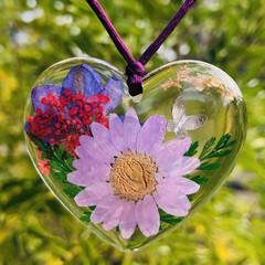 Resin Real Pressed Flower Necklace ~ Variety of options