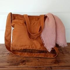 MUSTARD cotton &  shoulder or cross body bag,  pockets, 100% linen lining