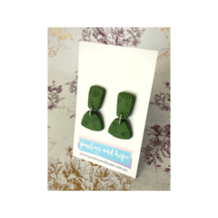 Embossed Trapezoid Dangles -  Olive