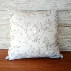 SILVER GREY floral cushion cover, beautifully soft linen-cotton, zipper