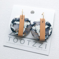 MARBLE LUXE - Monochrome Marble Dangles w/ Recycled Leather Strap - Statement