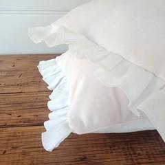 SET OF 2 throw pillow covers, Palest Pink velvet + white crinkle cotton ruffles