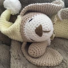 Crochet Sleepy Puppy Dog, Amigurumi, Teddy.