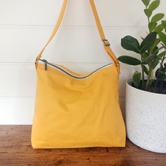 SUNFLOWER YELLOW cotton canvas bag with floral lining, zipper, adjustable strap