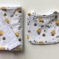 Bee bib and burp cloth set