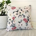 FLORAL print cotton canvas throw pillow cover with fringe, 100% cotton, zipper