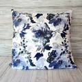 BLUE CHINTZ floral cotton canvas throw pillow cover,  100% cotton, zipper