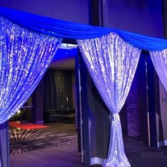 Silver Sequin Entrance Drop with Blue Swagging – #1721