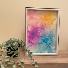 Rainbow Alcohol Ink in Frame