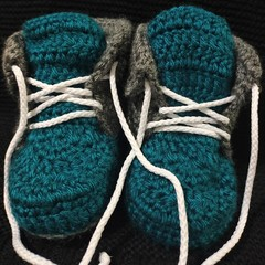 Teal lace up baby booties 0-3 months