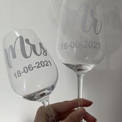 Wedding wine glasses - custom gift