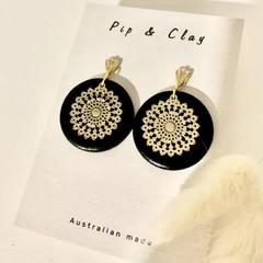 Black & gold lace earrings