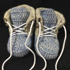Blue lace up baby booties 3-6 months
