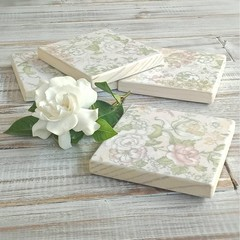 """""""COTTAGE GARDEN"""" set of 4 decoupage wooden coasters with holder"""